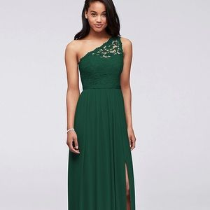 Green One Shoulder Lace Bridesmaid Dress